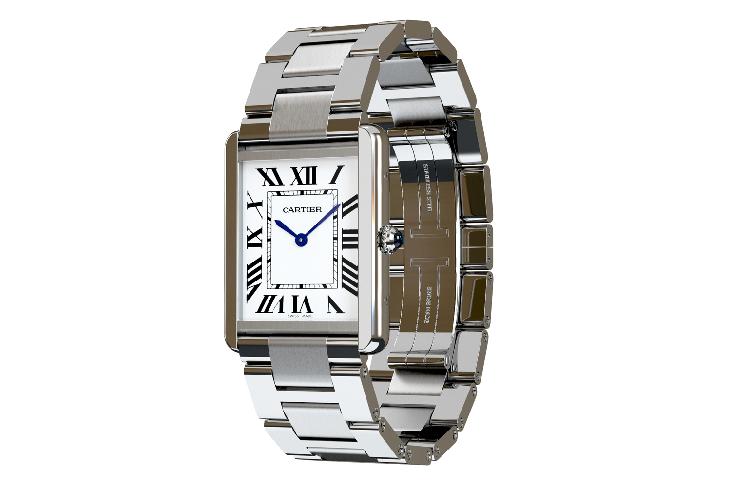 cartier watch 3d rendering and modeling